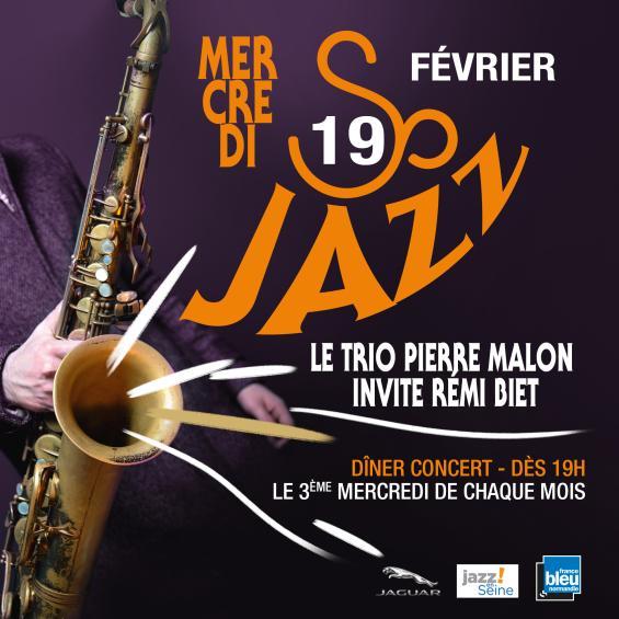 MERCREDI 19 FEVRIER     Rémi Biet: Saxophone Bernard Cochin: Contrebasse Franck Enouf: Batterie Pierre Malon: Guitare